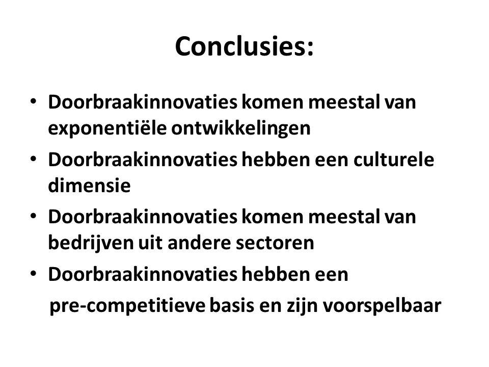 Conclusies: Doorbraakinnovaties komen meestal van exponentiële ontwikkelingen Doorbraakinnovaties hebben een culturele dimensie Doorbraakinnovaties ko