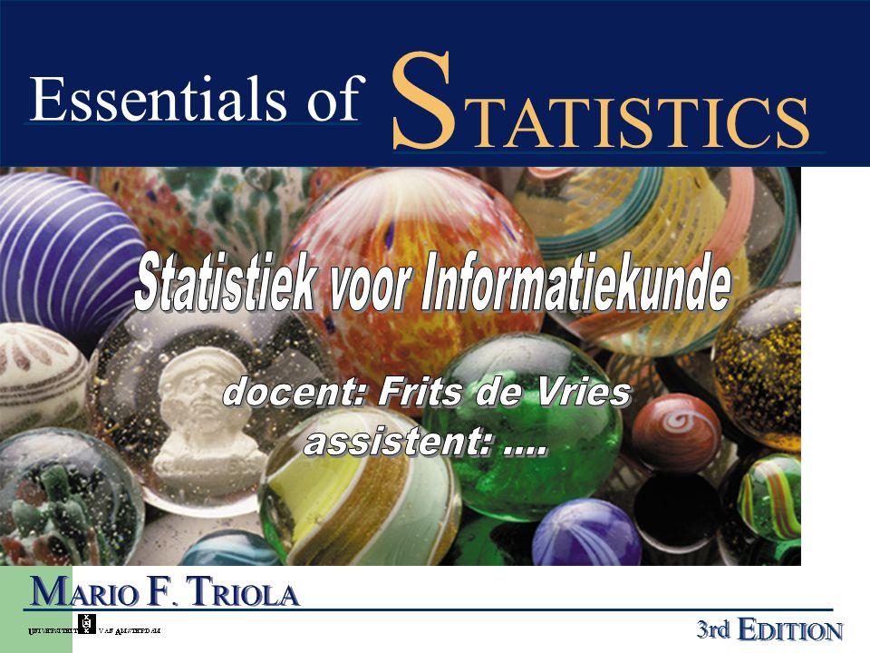 Triola, hoofdstuk 1 Belangrijke definities voor gebruik bij de statistiek