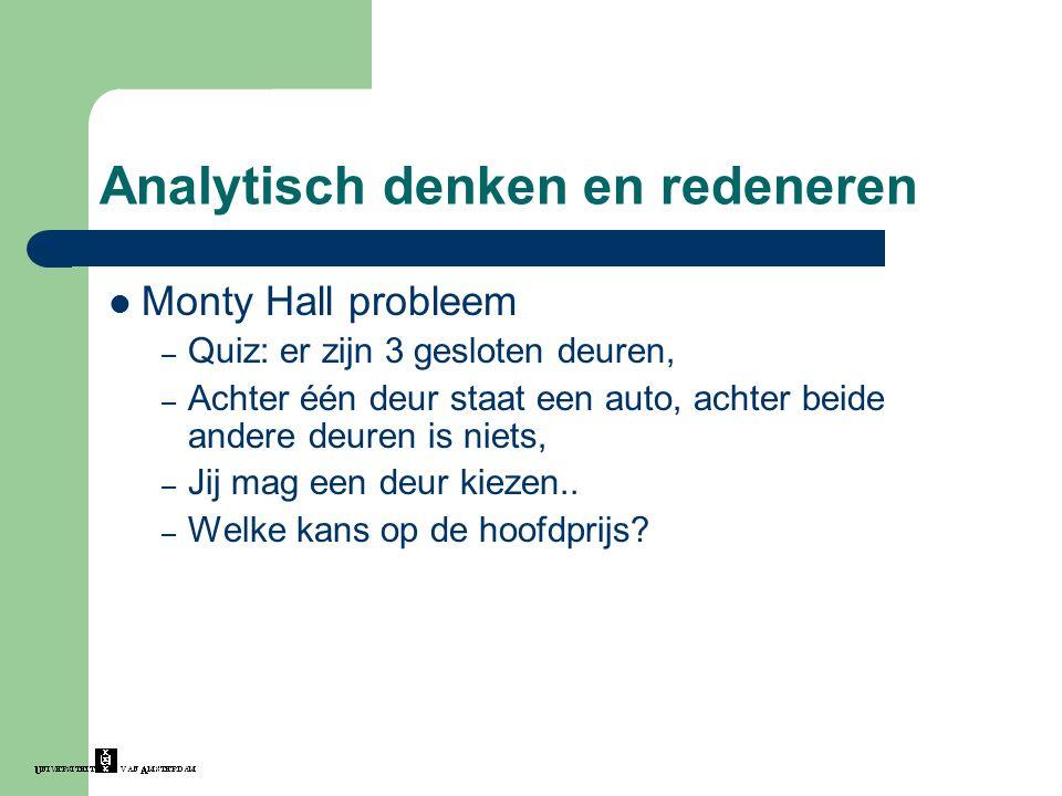 Analytisch denken en redeneren Monty Hall probleem – Quiz: er zijn 3 gesloten deuren, – Achter één deur staat een auto, achter beide andere deuren is niets, – Jij mag een deur kiezen..