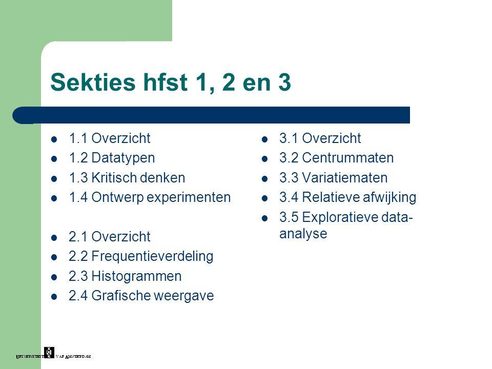 Sekties hfst 1, 2 en 3 1.1 Overzicht 1.2 Datatypen 1.3 Kritisch denken 1.4 Ontwerp experimenten 2.1 Overzicht 2.2 Frequentieverdeling 2.3 Histogrammen 2.4 Grafische weergave 3.1 Overzicht 3.2 Centrummaten 3.3 Variatiematen 3.4 Relatieve afwijking 3.5 Exploratieve data- analyse