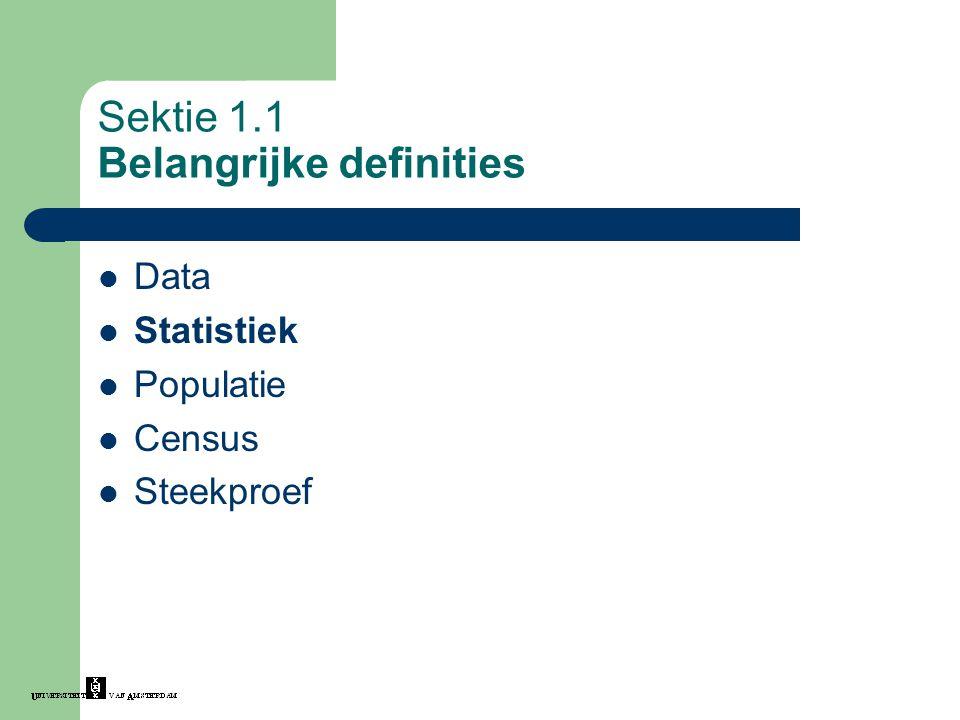 Sektie 1.1 Belangrijke definities Data Statistiek Populatie Census Steekproef