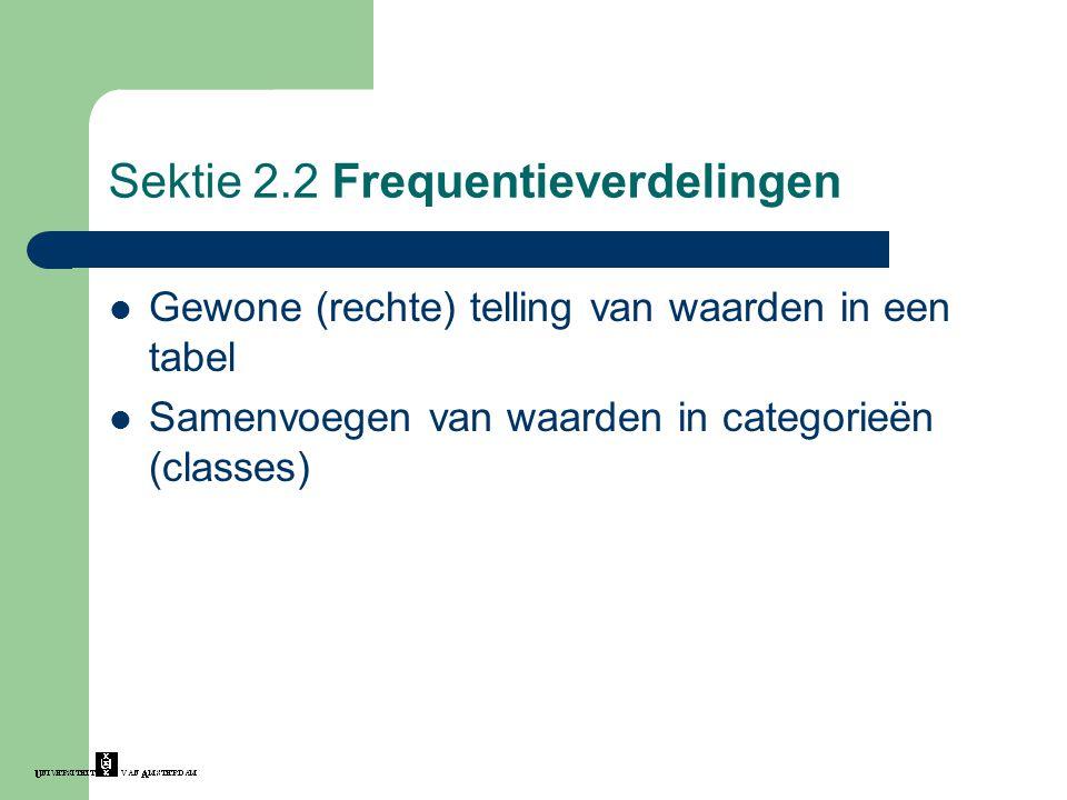 Sektie 2.2 Frequentieverdelingen Gewone (rechte) telling van waarden in een tabel Samenvoegen van waarden in categorieën (classes)