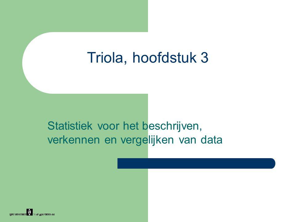 Triola, hoofdstuk 3 Statistiek voor het beschrijven, verkennen en vergelijken van data