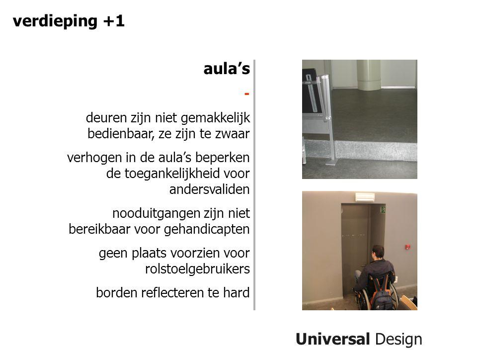 Universal Design verdieping +1 aula's - deuren zijn niet gemakkelijk bedienbaar, ze zijn te zwaar verhogen in de aula's beperken de toegankelijkheid voor andersvaliden nooduitgangen zijn niet bereikbaar voor gehandicapten geen plaats voorzien voor rolstoelgebruikers borden reflecteren te hard