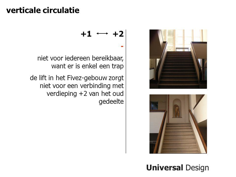 Universal Design verticale circulatie +1 +2 - niet voor iedereen bereikbaar, want er is enkel een trap de lift in het Fivez-gebouw zorgt niet voor een