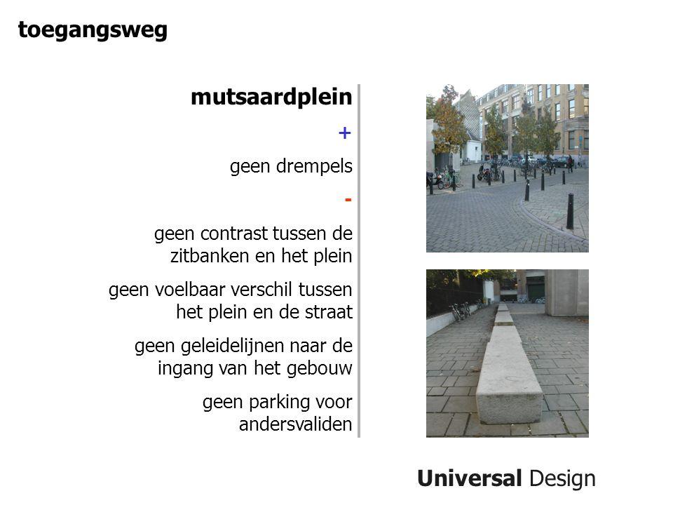 Universal Design toegangsweg mutsaardplein + geen drempels - geen contrast tussen de zitbanken en het plein geen voelbaar verschil tussen het plein en de straat geen geleidelijnen naar de ingang van het gebouw geen parking voor andersvaliden