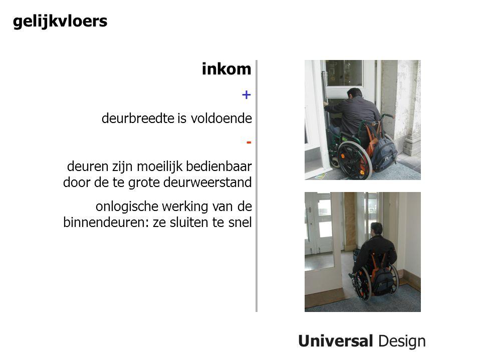 Universal Design gelijkvloers inkom + deurbreedte is voldoende - deuren zijn moeilijk bedienbaar door de te grote deurweerstand onlogische werking van de binnendeuren: ze sluiten te snel