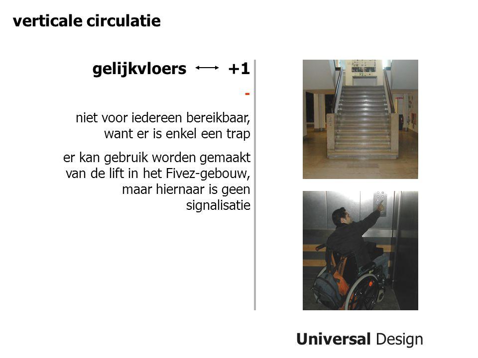 Universal Design verticale circulatie gelijkvloers +1 - niet voor iedereen bereikbaar, want er is enkel een trap er kan gebruik worden gemaakt van de lift in het Fivez-gebouw, maar hiernaar is geen signalisatie