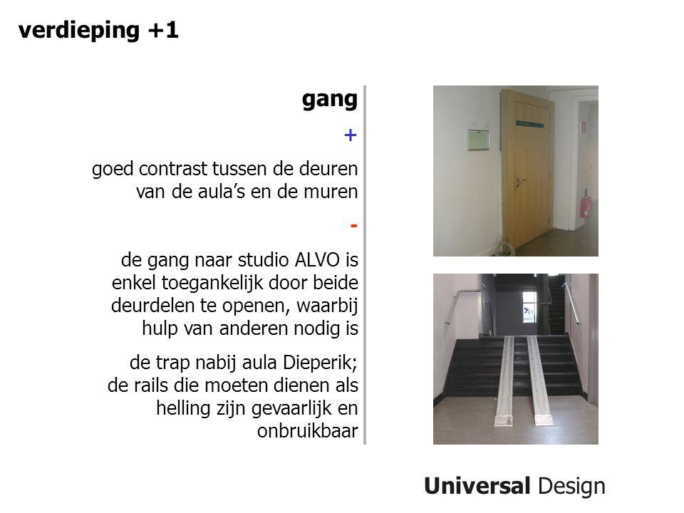 Universal Design verdieping +1 gang + goed contrast tussen de deuren van de aula's en de muren - de gang naar studio ALVO is enkel toegankelijk door b