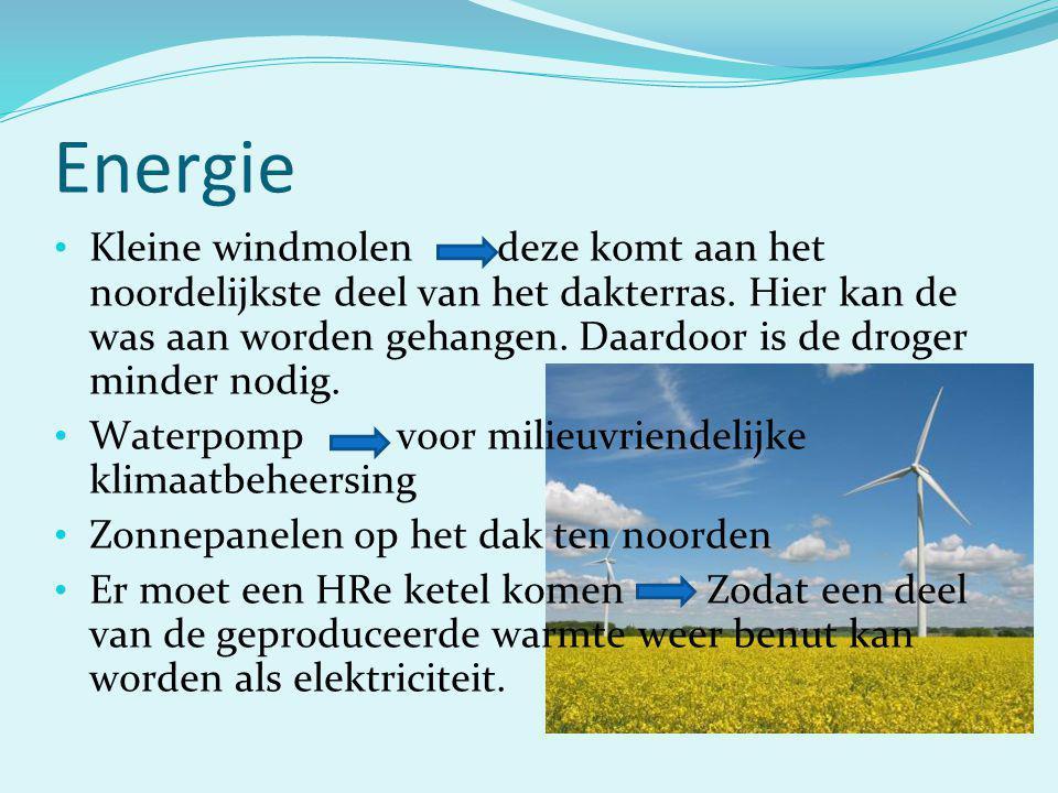 Energie Kleine windmolen deze komt aan het noordelijkste deel van het dakterras. Hier kan de was aan worden gehangen. Daardoor is de droger minder nod