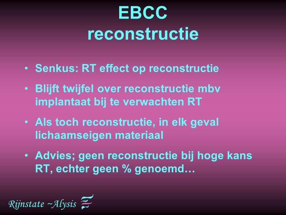 Rijnstate ~Alysis EBCC reconstructie Senkus: RT effect op reconstructie Blijft twijfel over reconstructie mbv implantaat bij te verwachten RT Als toch