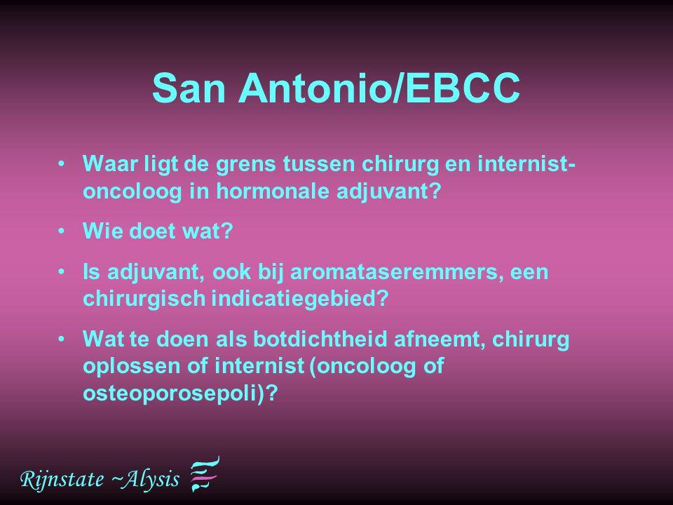 Rijnstate ~Alysis San Antonio/EBCC Waar ligt de grens tussen chirurg en internist- oncoloog in hormonale adjuvant? Wie doet wat? Is adjuvant, ook bij