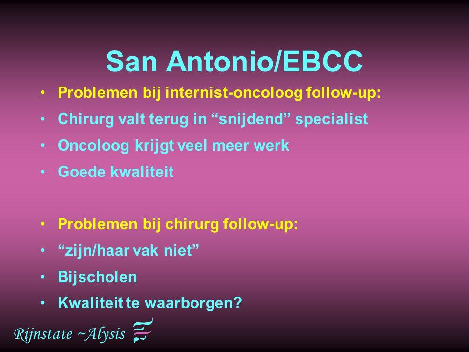 """Rijnstate ~Alysis San Antonio/EBCC Problemen bij internist-oncoloog follow-up: Chirurg valt terug in """"snijdend"""" specialist Oncoloog krijgt veel meer w"""