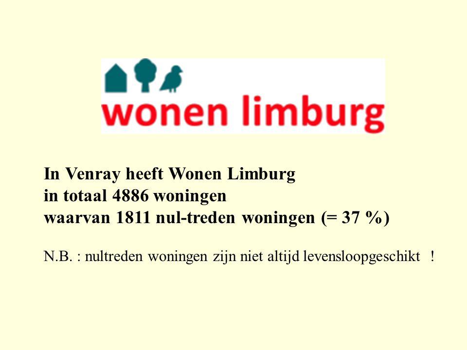 In Venray heeft Wonen Limburg in totaal 4886 woningen waarvan 1811 nul-treden woningen (= 37 %) N.B. : nultreden woningen zijn niet altijd levensloopg