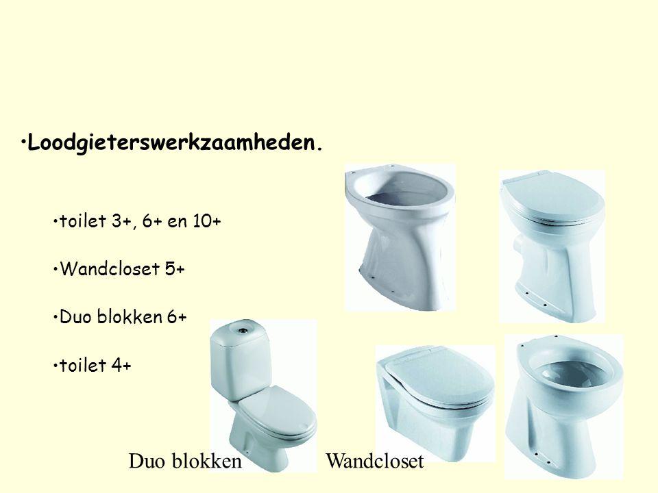 Loodgieterswerkzaamheden. toilet 3+, 6+ en 10+ Wandcloset 5+ Duo blokken 6+ toilet 4+ Duo blokkenWandcloset