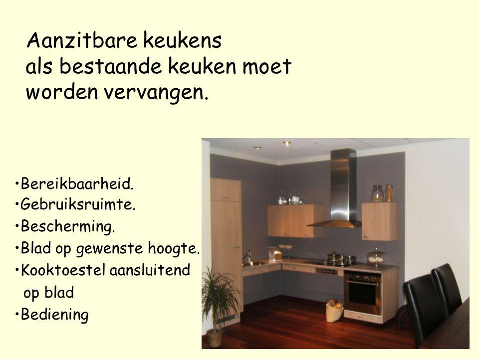 Aanzitbare keukens als bestaande keuken moet worden vervangen. Bereikbaarheid. Gebruiksruimte. Bescherming. Blad op gewenste hoogte. Kooktoestel aansl
