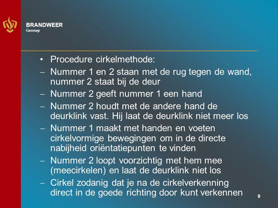 9 BRANDWEER Gennep Procedure cirkelmethode:  Nummer 1 en 2 staan met de rug tegen de wand, nummer 2 staat bij de deur  Nummer 2 geeft nummer 1 een hand  Nummer 2 houdt met de andere hand de deurklink vast.