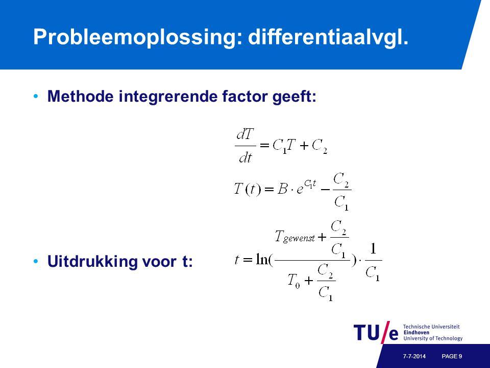 Probleemoplossing: differentiaalvgl. Methode integrerende factor geeft: Uitdrukking voor t: PAGE 97-7-2014