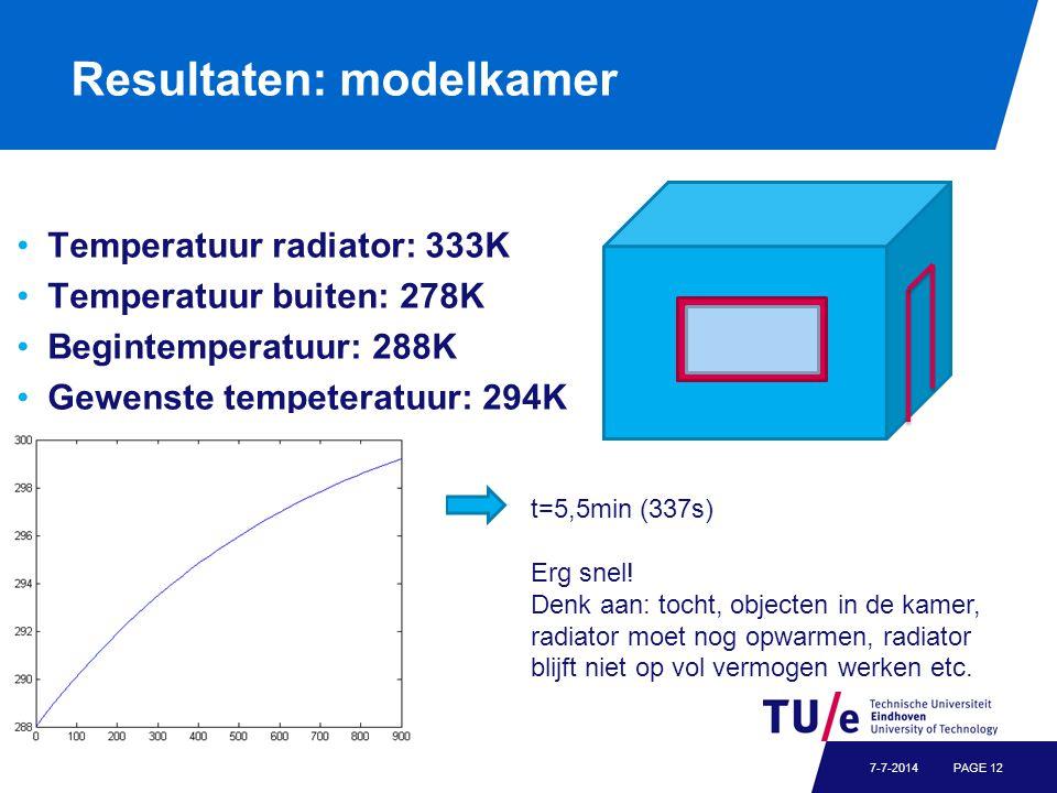 Resultaten: modelkamer Temperatuur radiator: 333K Temperatuur buiten: 278K Begintemperatuur: 288K Gewenste tempeteratuur: 294K PAGE 127-7-2014 t=5,5mi
