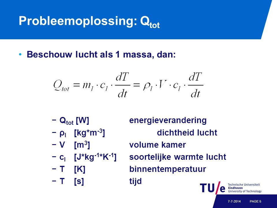 Probleemoplossing: Q tot Beschouw lucht als 1 massa, dan: −Q tot [W]energieverandering −ρ l [kg*m -3 ]dichtheid lucht −V[m 3 ]volume kamer −c l [J*kg