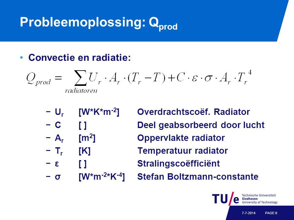 Probleemoplossing: Q prod Convectie en radiatie: −U r [W*K*m -2 ] Overdrachtscoëf. Radiator −C[ ]Deel geabsorbeerd door lucht −A r [m 2 ]Oppervlakte r