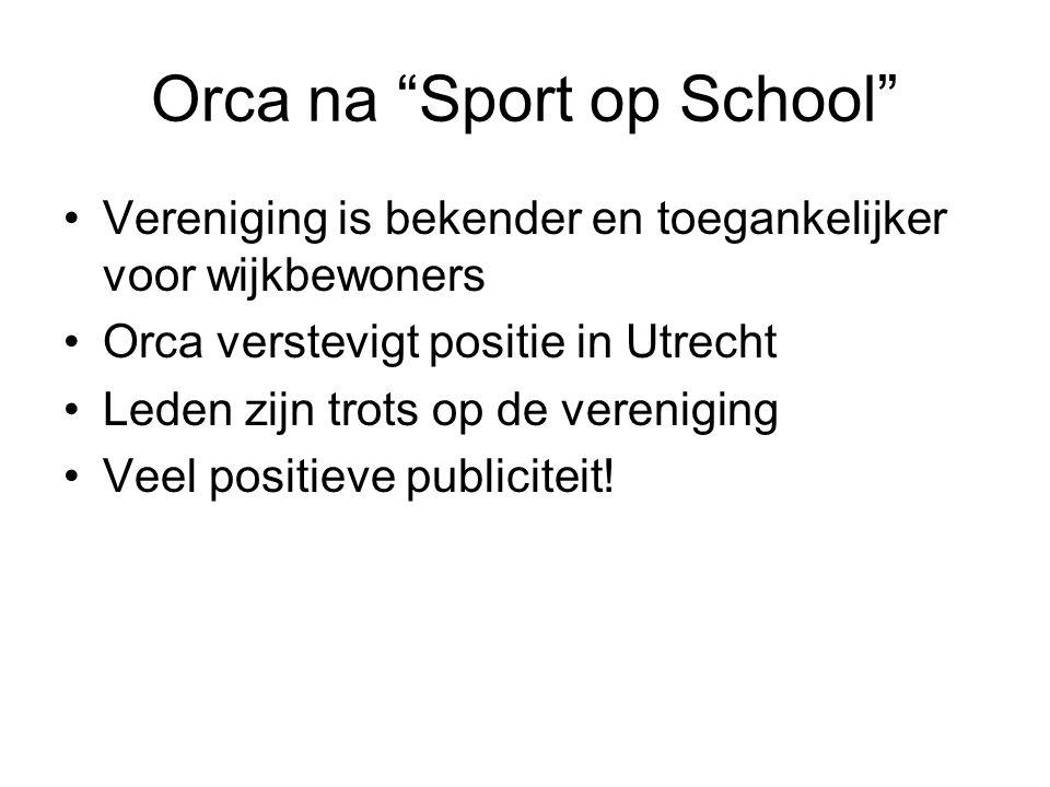 Orca na Sport op School Vereniging is bekender en toegankelijker voor wijkbewoners Orca verstevigt positie in Utrecht Leden zijn trots op de vereniging Veel positieve publiciteit!