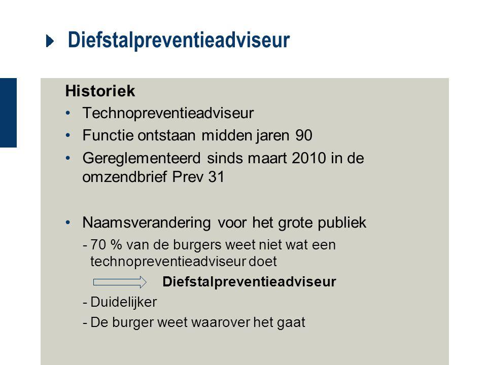 Diefstalpreventieadviseur Historiek Technopreventieadviseur Functie ontstaan midden jaren 90 Gereglementeerd sinds maart 2010 in de omzendbrief Prev 3