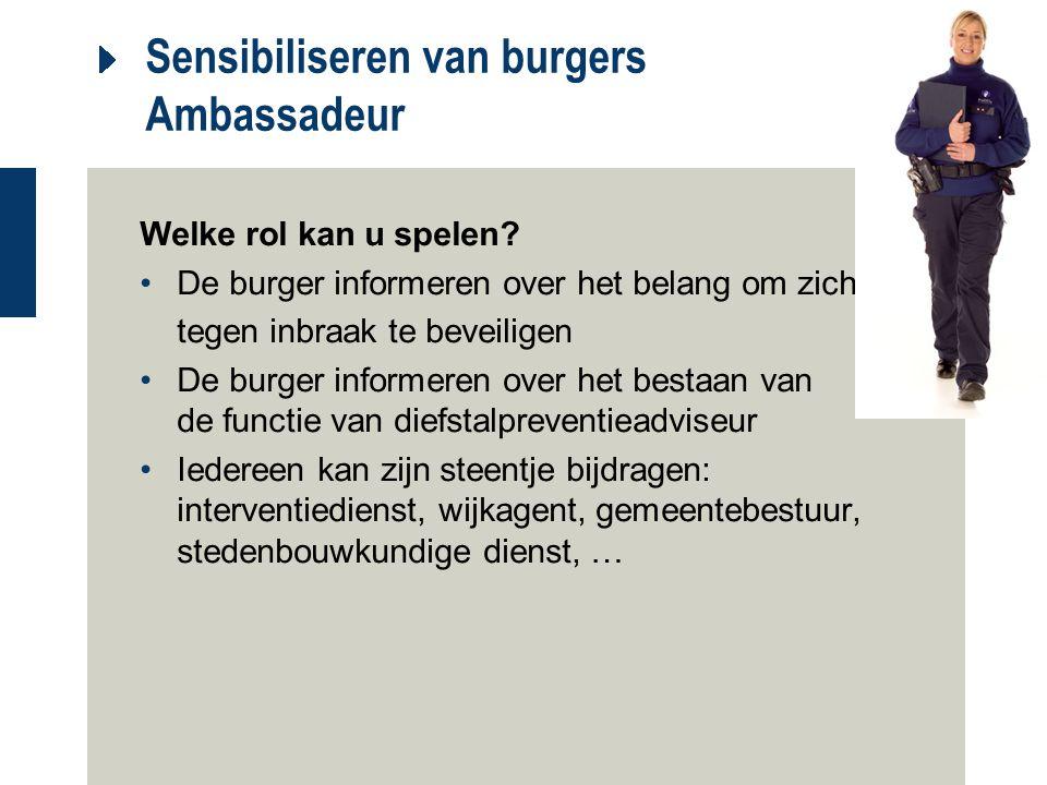 Sensibiliseren van burgers Ambassadeur Welke rol kan u spelen? De burger informeren over het belang om zich tegen inbraak te beveiligen De burger info