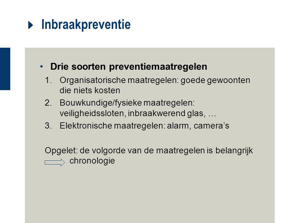 Inbraakpreventie Drie soorten preventiemaatregelen 1.Organisatorische maatregelen: goede gewoonten die niets kosten 2.Bouwkundige/fysieke maatregelen: