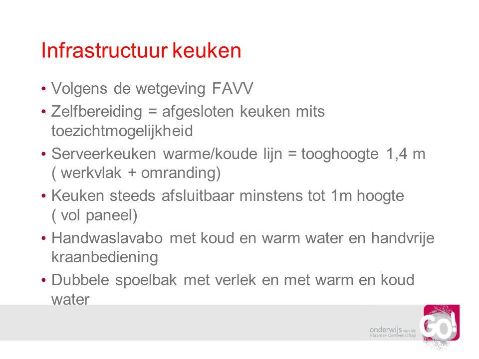 Infrastructuur keuken Volgens de wetgeving FAVV Zelfbereiding = afgesloten keuken mits toezichtmogelijkheid Serveerkeuken warme/koude lijn = tooghoogt