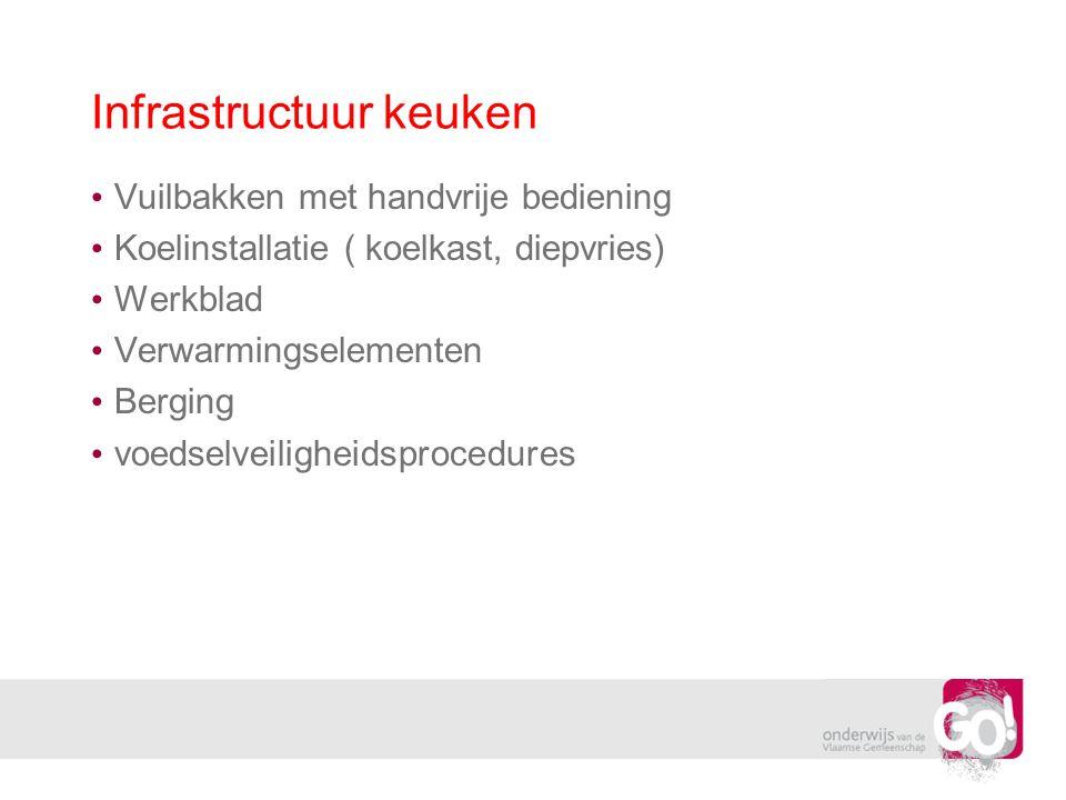 Infrastructuur keuken Vuilbakken met handvrije bediening Koelinstallatie ( koelkast, diepvries) Werkblad Verwarmingselementen Berging voedselveilighei