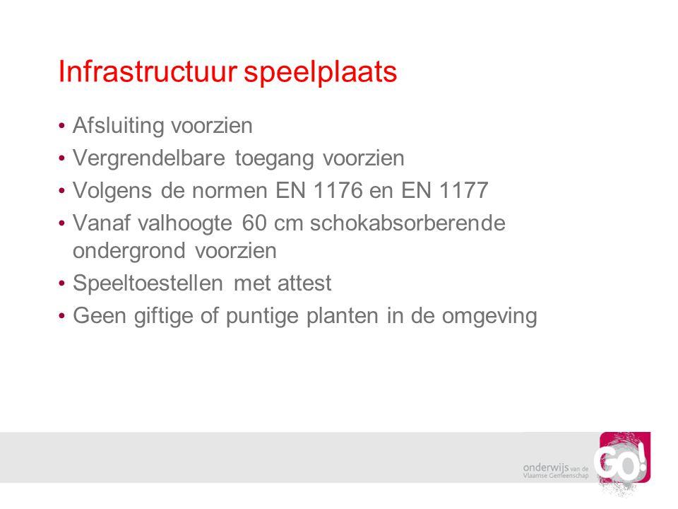 Infrastructuur speelplaats Afsluiting voorzien Vergrendelbare toegang voorzien Volgens de normen EN 1176 en EN 1177 Vanaf valhoogte 60 cm schokabsorbe
