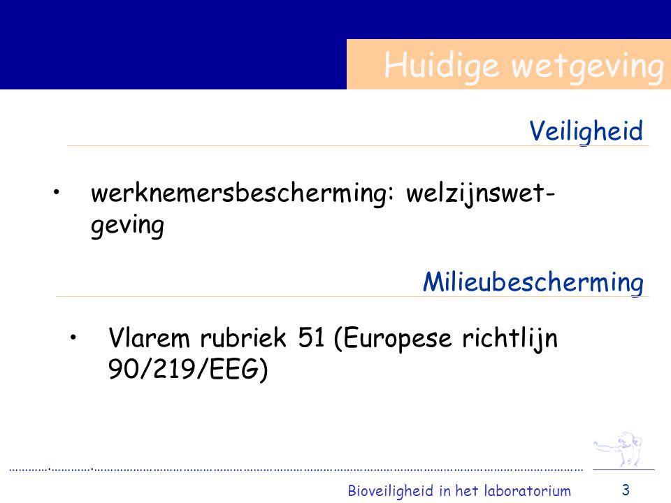 werknemersbescherming: welzijnswet- geving Huidige wetgeving ………….………….………………………………………………………………………………………………………………………………… Bioveiligheid in het laboratorium 3 Veiligheid Milieubescherming Vlarem rubriek 51 (Europese richtlijn 90/219/EEG)