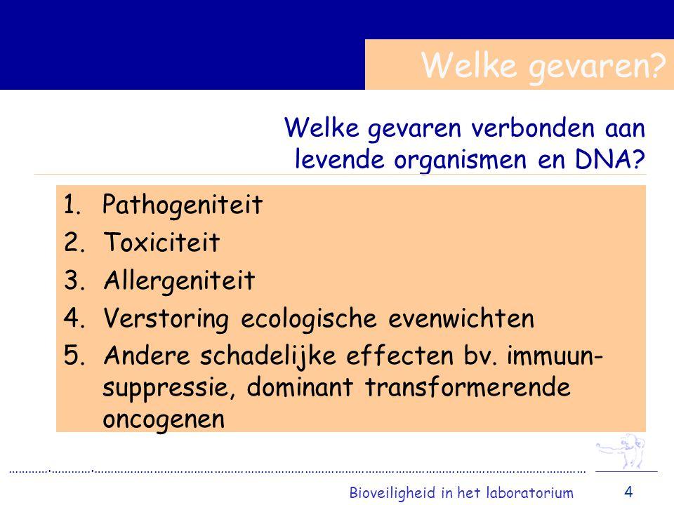Welke gevaren verbonden aan levende organismen en DNA.