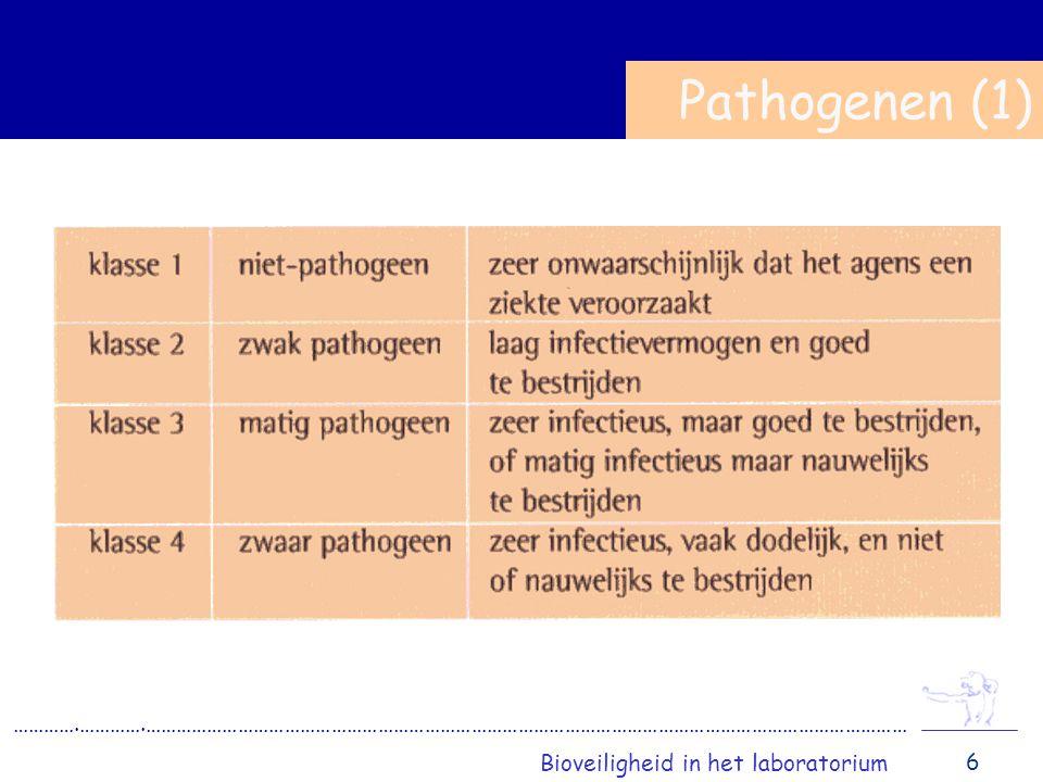 Pathogenen (1) ………….………….………………………………………………………………………………………………………………………………… Bioveiligheid in het laboratorium 6