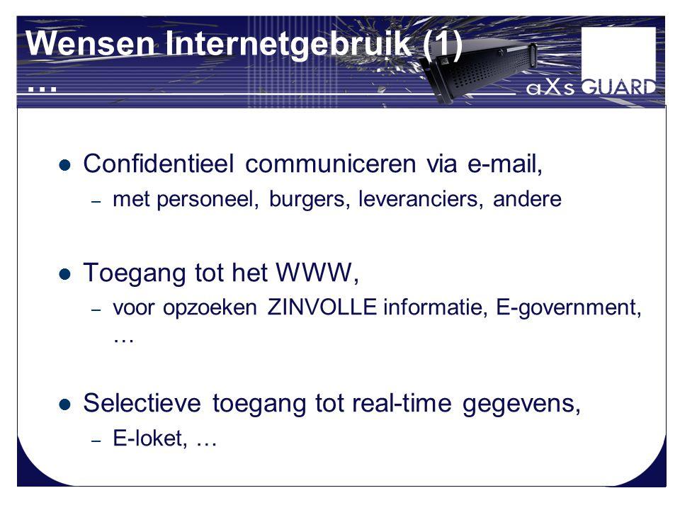 Wensen Internetgebruik (1) … Confidentieel communiceren via e-mail, – met personeel, burgers, leveranciers, andere Toegang tot het WWW, – voor opzoeken ZINVOLLE informatie, E-government, … Selectieve toegang tot real-time gegevens, – E-loket, …