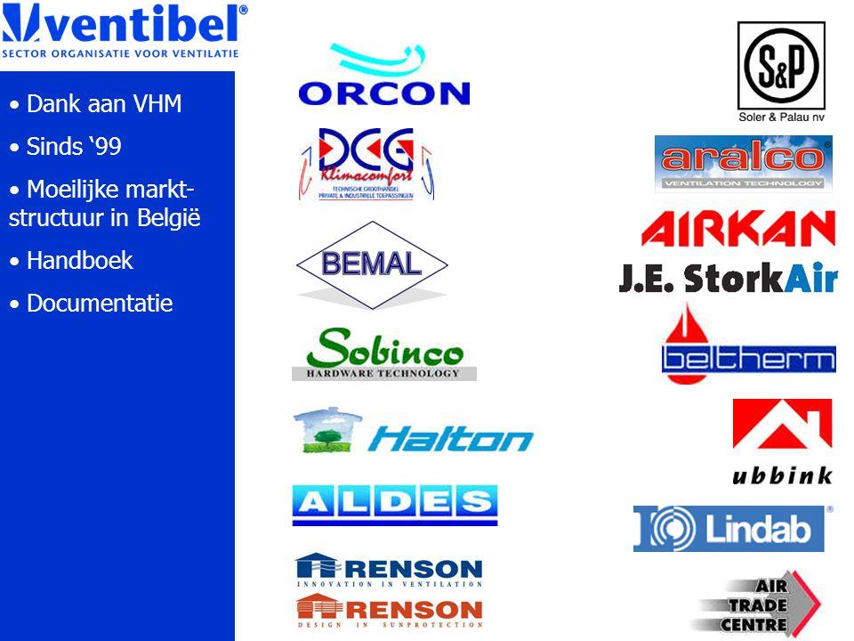 Dank aan VHM Sinds '99 Moeilijke markt- structuur in België Handboek Documentatie
