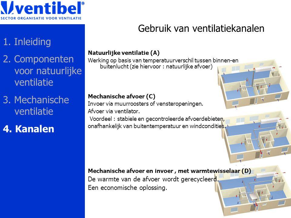 Gebruik van ventilatiekanalen Natuurlijke ventilatie (A) Werking op basis van temperatuurverschil tussen binnen-en buitenlucht (zie hiervoor : natuurl