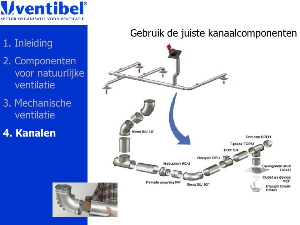 Gebruik de juiste kanaalcomponenten 1. Inleiding 2. Componenten voor natuurlijke ventilatie 3. Mechanische ventilatie 4. Kanalen