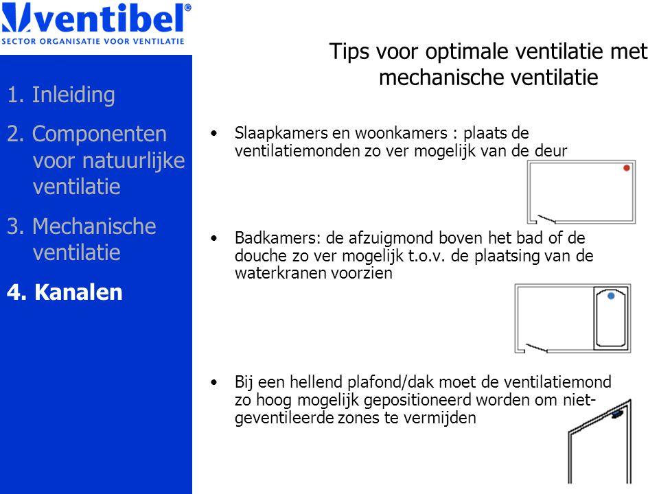 Tips voor optimale ventilatie met mechanische ventilatie Slaapkamers en woonkamers : plaats de ventilatiemonden zo ver mogelijk van de deur Badkamers: