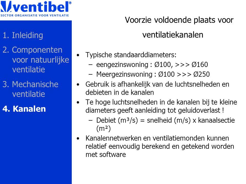 Voorzie voldoende plaats voor ventilatiekanalen Typische standaarddiameters: –eengezinswoning : Ø100, >>> Ø160 –Meergezinswoning : Ø100 >>> Ø250 Gebru