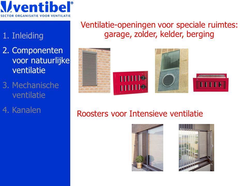 Roosters voor Intensieve ventilatie Ventilatie-openingen voor speciale ruimtes: garage, zolder, kelder, berging 1. Inleiding 2. Componenten voor natuu