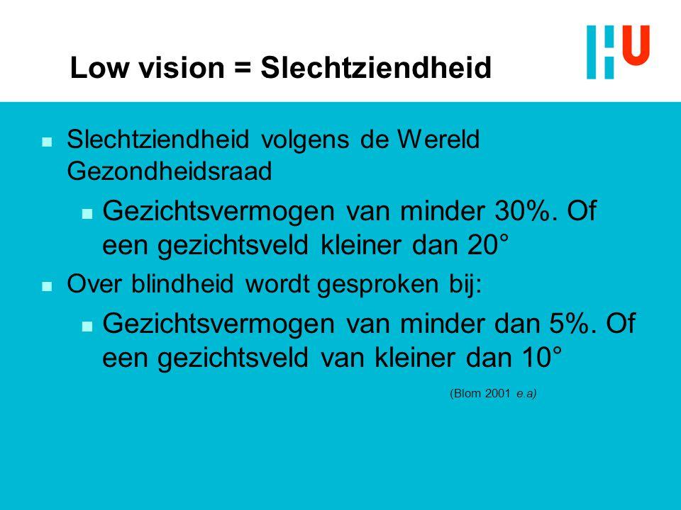 Low vision = Slechtziendheid n Slechtziendheid volgens de Wereld Gezondheidsraad n Gezichtsvermogen van minder 30%. Of een gezichtsveld kleiner dan 20