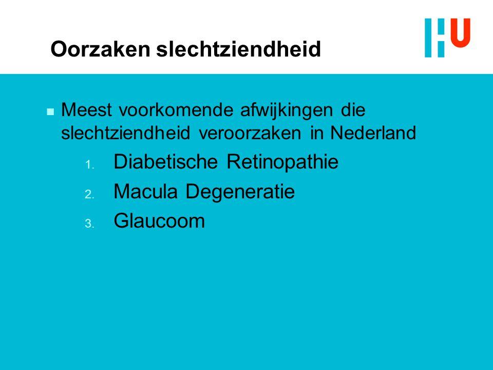 Oorzaken slechtziendheid n Meest voorkomende afwijkingen die slechtziendheid veroorzaken in Nederland 1. Diabetische Retinopathie 2. Macula Degenerati