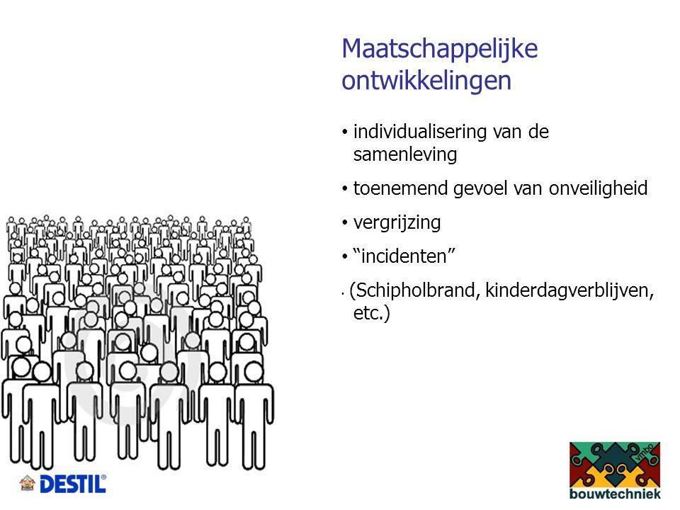 Maatschappelijke ontwikkelingen individualisering van de samenleving toenemend gevoel van onveiligheid vergrijzing incidenten (Schipholbrand, kinderdagverblijven, etc.)