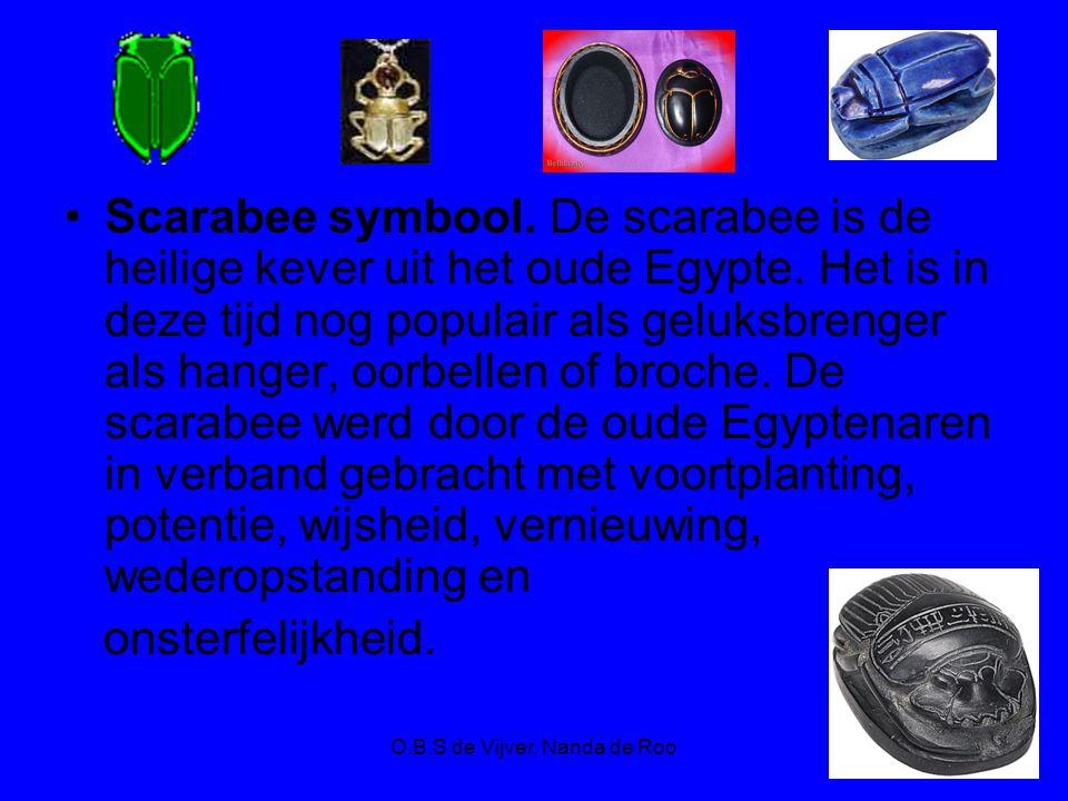 O.B.S de Vijver, Nanda de Roo Scarabee symbool. De scarabee is de heilige kever uit het oude Egypte. Het is in deze tijd nog populair als geluksbrenge