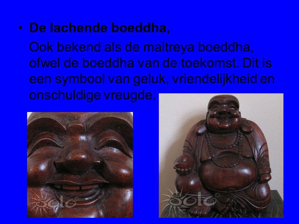 De lachende boeddha, Ook bekend als de maitreya boeddha, ofwel de boeddha van de toekomst. Dit is een symbool van geluk, vriendelijkheid en onschuldig