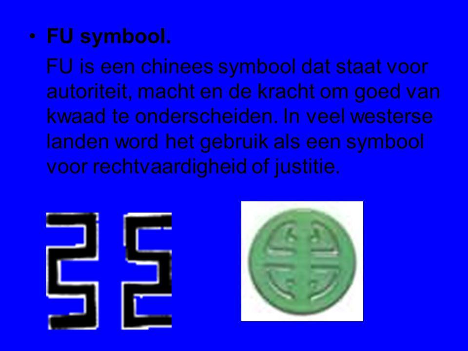 FU symbool. FU is een chinees symbool dat staat voor autoriteit, macht en de kracht om goed van kwaad te onderscheiden. In veel westerse landen word h
