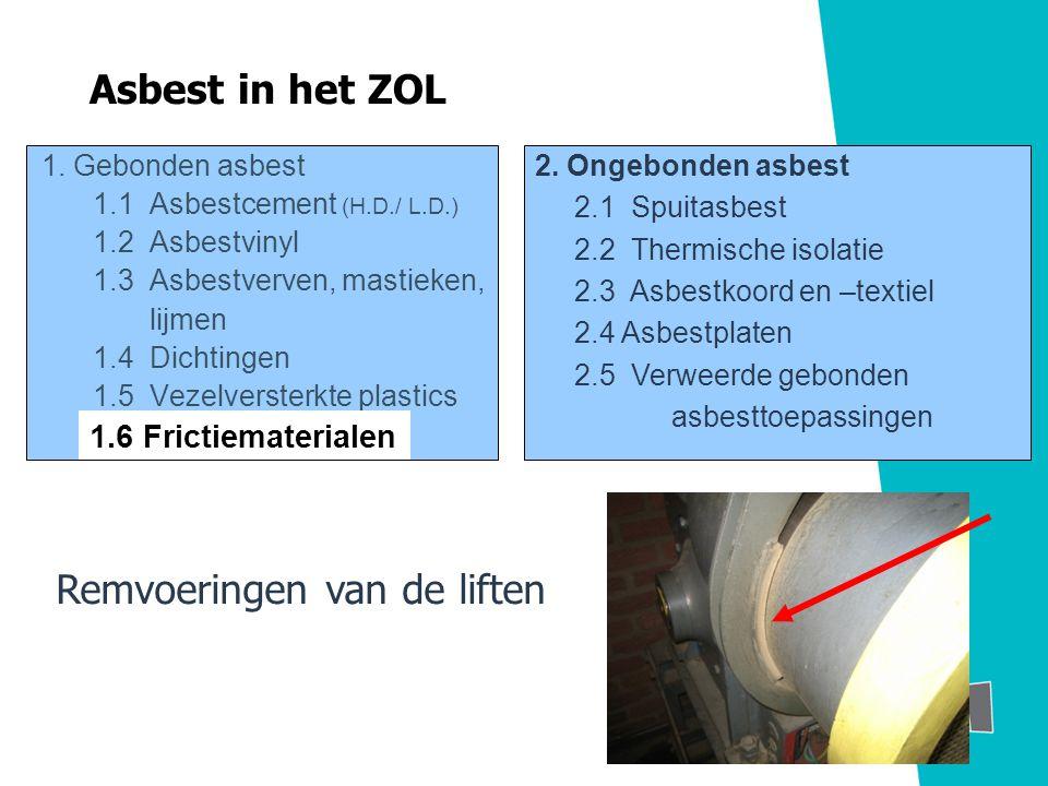 1. Gebonden asbest 1.1 Asbestcement (H.D./ L.D.) 1.2 Asbestvinyl 1.3 Asbestverven, mastieken, lijmen 1.4 Dichtingen 1.5 Vezelversterkte plastics 2. On