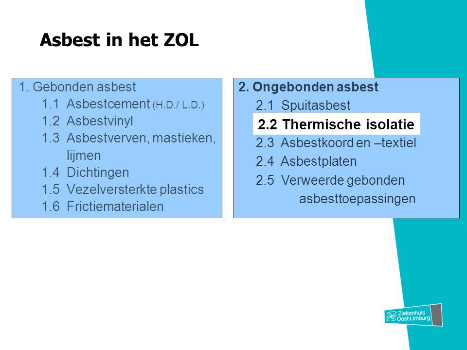 1. Gebonden asbest 1.1 Asbestcement (H.D./ L.D.) 1.2 Asbestvinyl 1.3 Asbestverven, mastieken, lijmen 1.4 Dichtingen 1.5 Vezelversterkte plastics 1.6 F